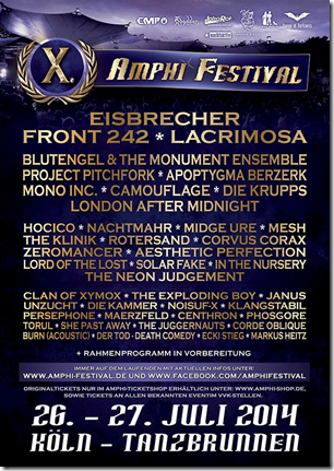 Amphi Festival 2014 – Finaler Künstler und frohe Ostern